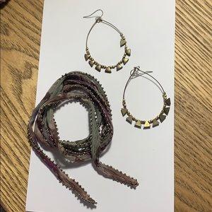 Anthropologie Hoops & wrap bracelet